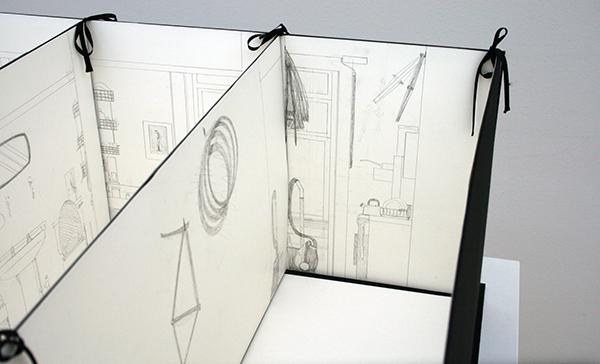 Lucy McKenzie - Bedsit Glasgow - Potlood op papier in linnen portfolio (detail)
