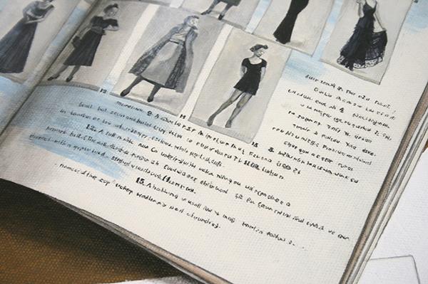 Lucy McKenzie - Quodlibet XXV (Capsule Wardrobes) - Olieverf op doek op hout (detail)