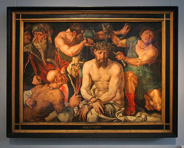 Maerten van Heemskerck - De Doornenkroning - Olieverf op doek op paneel 1550