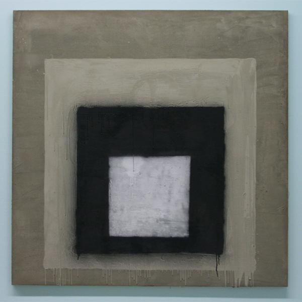 Marc Bijl - Afterburner (After Josef Alvers) - Cement, verf en spuitbus op doek