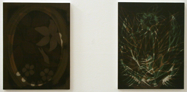 Marcel Swint - An Object of Absence & Zonder Titel (Skeleton Leaves) - 39x30cm & 40x30cm Olieverf op paneel