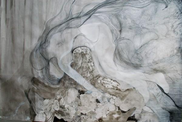Maria van den Broek – Hemelse vrouw - 190x150cm Mixed media, potlood op papier, 2014-2015
