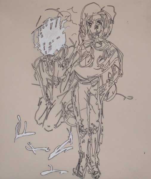 Marijke Elferink - Zonder Titel - 60x60cm Acrylverf op papier, 2014-2015