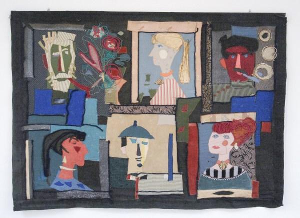 Marijke Stultiens - Applicatiedoek met portretten van kunstenaarsechtparen - Textiel, 1958
