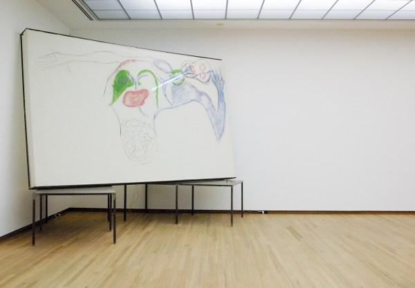 Mario Merz - Mezione di Anatomia - Krijt op doek, neonbuis, metalen tafels