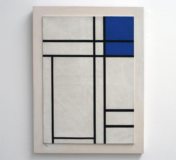 Marlow Moss - Compositie met dubbele lijn en blauw vlak
