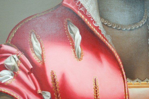 Mary A Waters - Dark Woman Pink Dress (Clear, Deep and Profound) - 140x120cm Olieverf op linnen (detail)