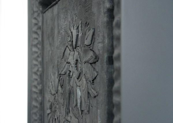 Matthew Day Jackson - Destroyed by Fire - 131x102x10cm Verbrand hout, gepoedercoated stalen lijst (detail)