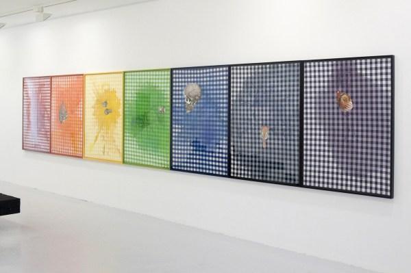 Matthew Day Jackson - Seven Deadly Sins - 7-delig, elk 132x98x4cm Waterverf en pastel op textiel papier en iris prints op papier