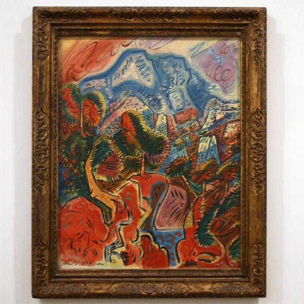 Max Ernst - Dadaville - Beschilderd gips (fresco?) op kurk op canvas