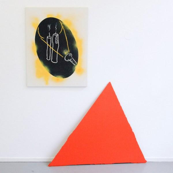 Micha Patiniott - Mild & Honey (Schrodinger's Torch) - 70x90cm Gekleurde gesso, spuitbus en olieverf op canvas & Just Quist - Untitled - 100x115cm Acrylverf op paneel