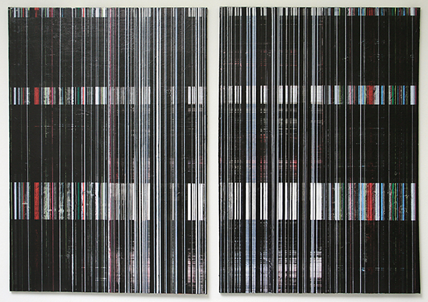 Mike Ottink - Field Effect - tweeluik, 100x70cm Inkt en acrylverf op canvas