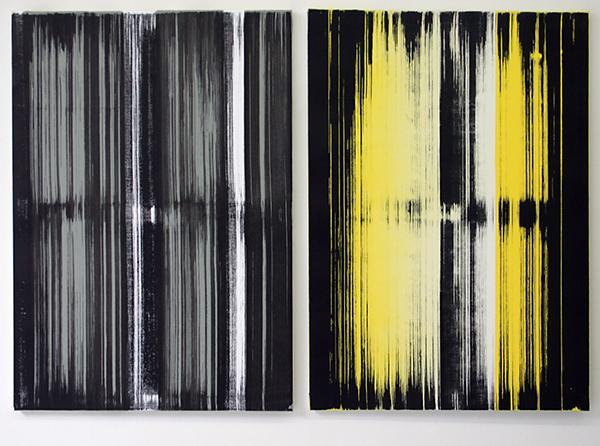 Mike Ottink - Implicate Order - tweeluik, 100x70cm Inkt en acrylverf op canvas
