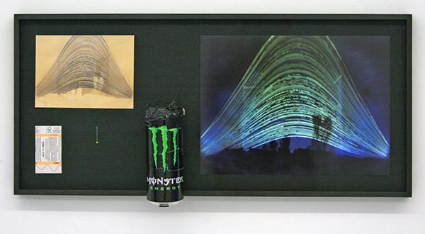 Navid Nuur - Location (study) - 71x33x10cm C-print, fotopapier, blikje, naald, treinkaartje, zonlicht en plakband