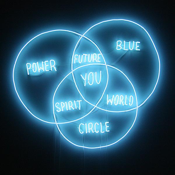 Navid Nuur - Mind Map - Neon met blauw glas 2013