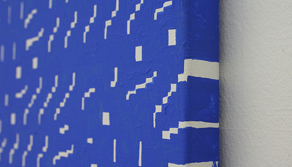 Navid Nuur - Study 55-51 from the series 'The Eye Codex of the Monochrome' 1988-2012 - 130x92cm Gesso, chrome key blauw (voor filmgebruik) op canvas (detail)