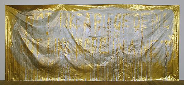 Navid Nuur - Untitled (Not Like a Piece of Pie But Like Rope in a Net) - Polyester Veiligheidsdeken, aluminium dark coating 2008-2010