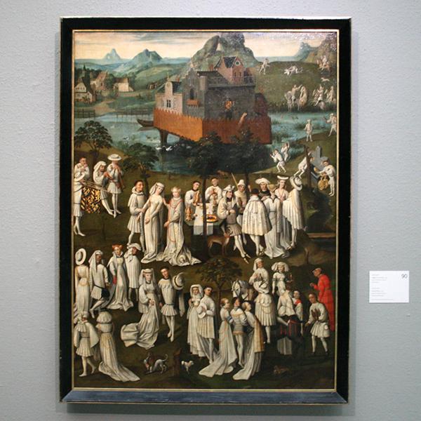 Nederlanden - Hoffeest in een park - Doek op paneel, Naar een voorbeeld uit 1430