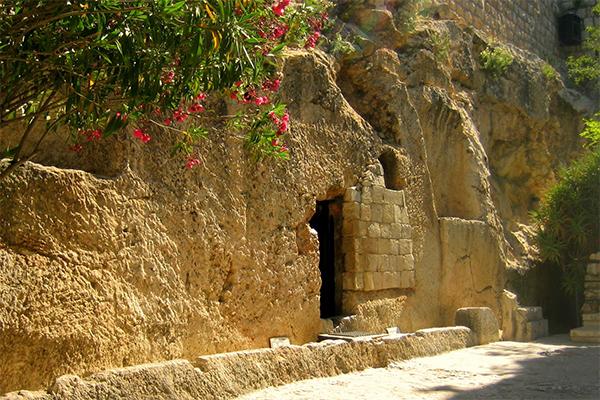 Net buiten de muren van de oude stad Jeruzalem bij de Damascus poort, de tombe van Jezus