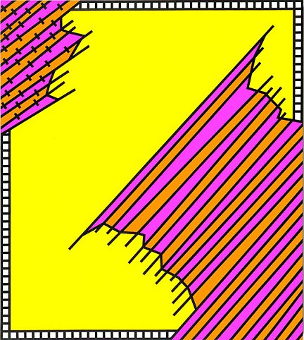 Nicholas Krushenick - Crossover - 70x62inch Acrylverf op linnen