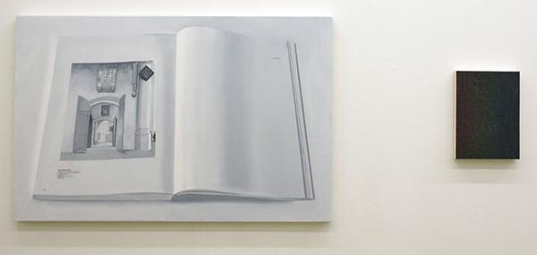 Niek Hendrix - Calligram (pagina 302 & Appendix) - 65x100cm & Holos (II) - 21x28cm Olieverf op canvas op paneel