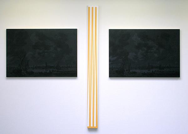 Niek Hendrix - Untitled (Jan van Goyen, View on Dordtrecht) - Tweeluik, 67x98cm & Convex - 171x15cm Olieverf op canvas op paneel