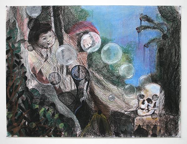 Nour-Eddine Jarram - La Dialogue - 100x75cm Pastel op papier