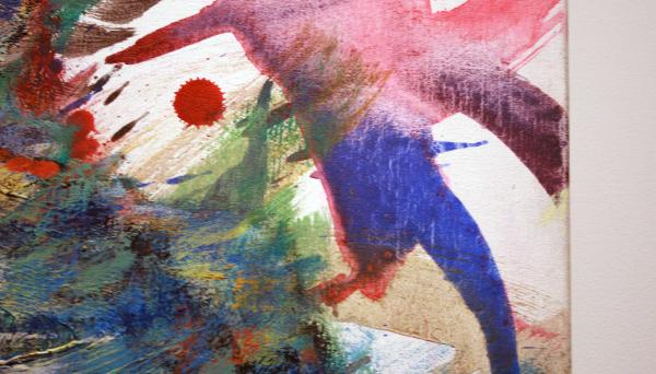 Omar Koubaa - Working with dark soil in a magnetic area 4 - 200x180cm Acrylverf op doek (detail)