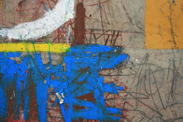 Oscar Murillo - 145 Minutes I Clocked In This Week - 265x215cm Vetkrijt en olieverf op doek (detail)