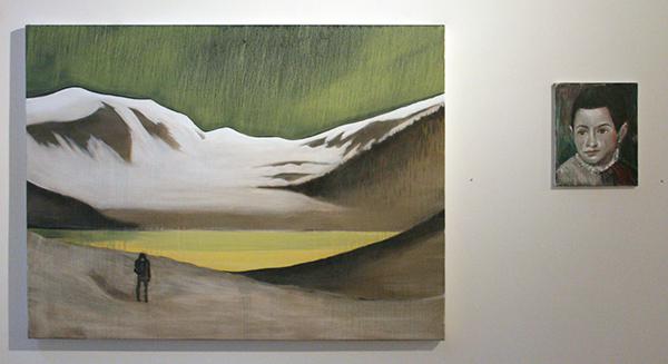 Par Stromberg - A Sulphurous Dawn - 90x120cm Olieverf op canvas & Lars Weller - After Titiaan - 30x24cm Olieverf op doek