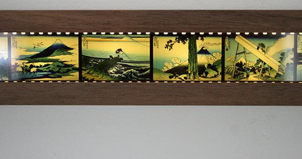 Pawel Kruk - 36-1 Views on Mount Fuji - 140x5cm Negatieven op perspex, licht en hout (detail)