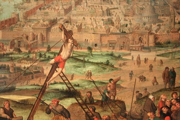 Pieter Breughel de Jonge - De Kruisiging - Olieverf op paneel (detail)