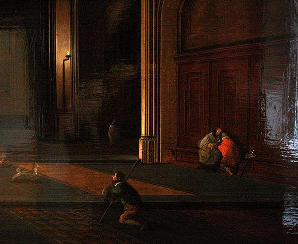 Pieter Neeffs de Oude - Interieur van een kerk - Olieverf op paneel (detail)