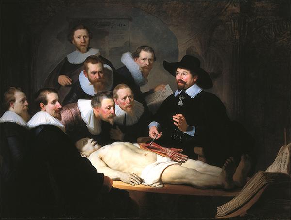 Rembrandt van Rijn - Anatomische les van dr Nicolaes Tulp - 217×170cm Olieverf op canvas 1632