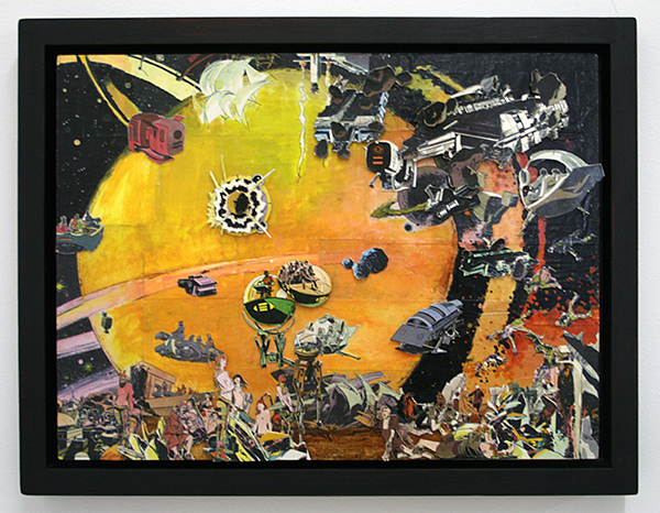 Rene Kuipers - Memling's Space Opera - 30x40cm Collage en Gouache op masoniet