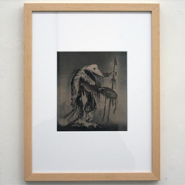Rens Krikhaar - De Medicijnman - 19x17cm Negropotlood op papier