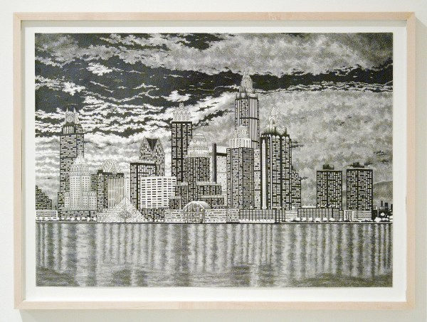 Rik Smits - Delta City Skyline by Evening - 50x70cm Potlood op papier