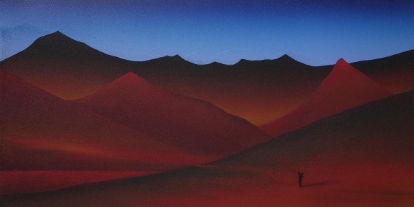 Rob Regeer - Landschap - 34x68cm Acrylverf op mdf, 2015