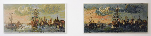 Rob Scholte - Gezicht op Amsterdam - 53x109cm Textiel en wol op canvas, 2006-2007