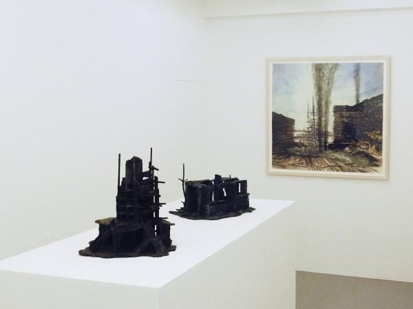 Rob Voerman - Incinerator #1 - 48x46x48cm Brons en glas & Settlement #1 - 37x29x47cm Brons en karton & Structure - 103x108cm Aquarel, potlood en roet op papier