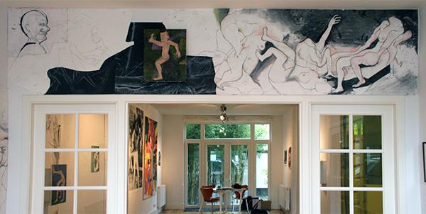 Roland Sohier - Grote tekening, Schilderijen installatie & Cancan - 50x40cm Olieverf op doek