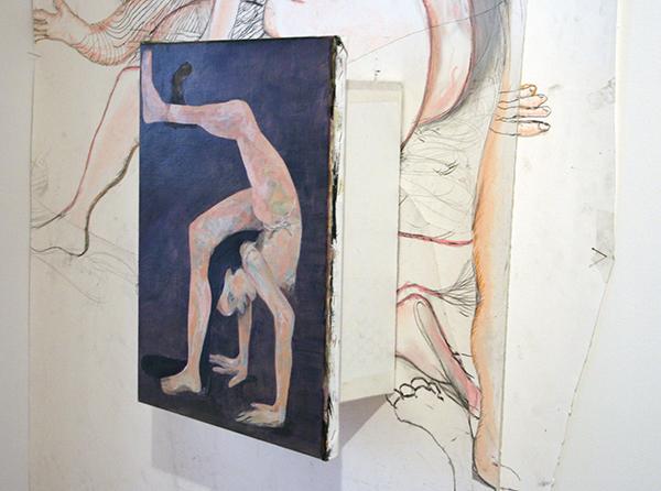 Roland Sohier - Grote tekening, Schilderijen installatie & Handstand - 45x35cm Olieverf op linnen
