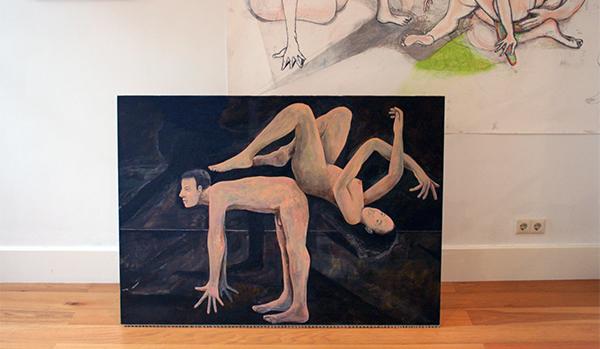 Roland Sohier - Grote tekening, Schilderijen installatie & Paardjerijden 2 - 100x140cm Olieverf op doek