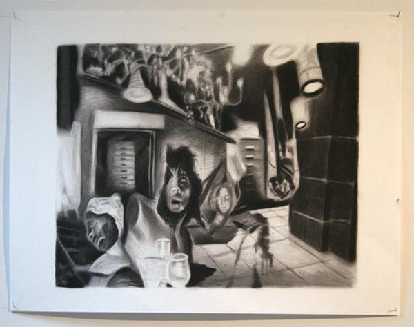 Ron Amir - Untitled - 50x60cm Houtskool op papier