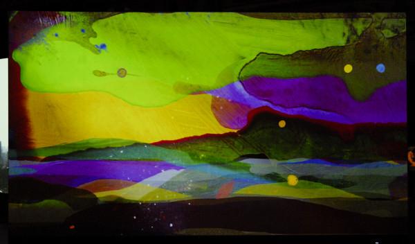 Bij Art Rotterdam Projections was onder andere dit videowerk van Jacco Olivier te zien. Het zijn geanimeerde schilderijen die in elkaar overlopen.