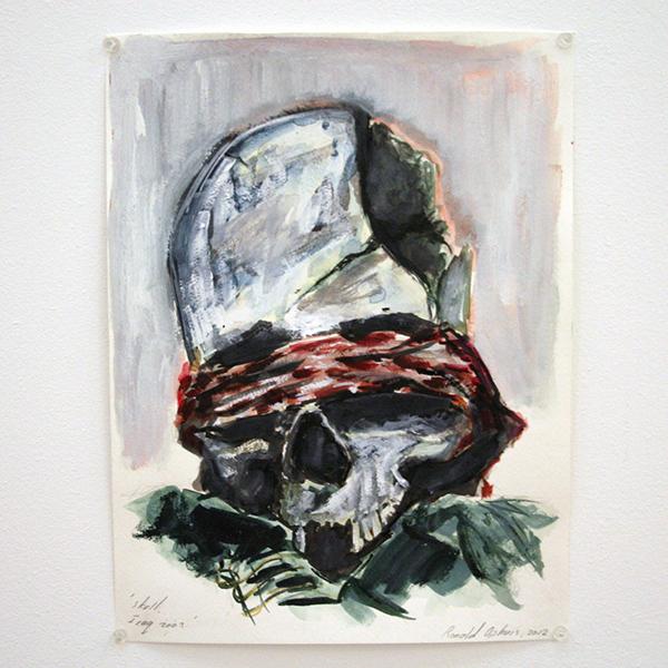Ronald Ophuis - Skull, Iraq 2003 - 38x27cm Aquarel op papier