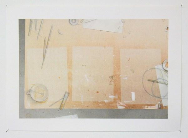 Rosa Everts - Zonder Titel (Atelier II) - 40x60cm Potlood, acrylverf en transparant papier op fotoprint op papier