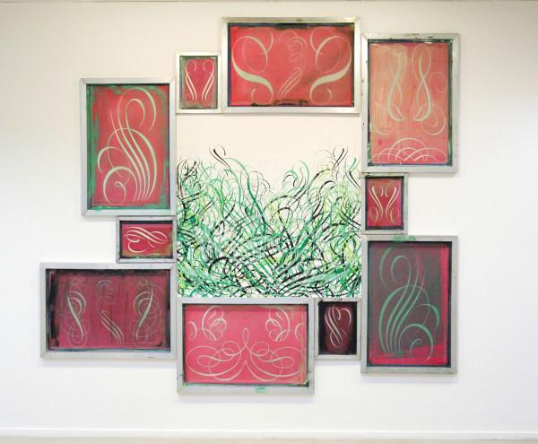 Ryan McGinness - Closed System Wall Painting (Flourishes) - 249x277cm Site Specific acrylverf op muur en zeefdrukramen met acrylverf en foto-emulsie