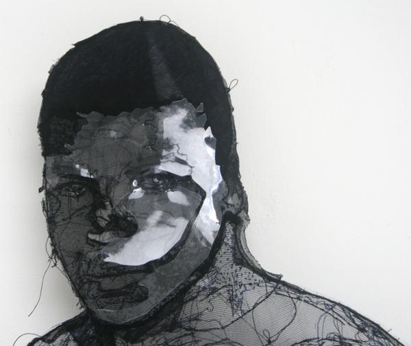 Saminte Ekeland - I AM THE GREATEST, 333! - 115x32cm Acrylverf, garen, plastic en panty's (detail)