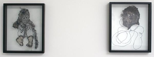 Saminte Ekeland - Masked & M - 31x25cm Borduursels met polyesther, acryl, nylon, garen en panty